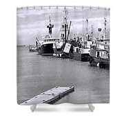 Black And White Fishing Boats On The Dock Shower Curtain