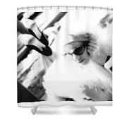 Black And White Girl  Shower Curtain