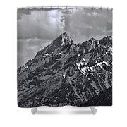Black And White Grand Teton Detail Shower Curtain