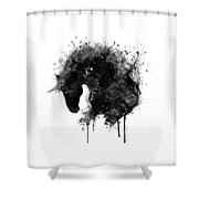 Black And White Horse Head Watercolor Silhouette Shower Curtain