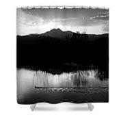Black And White Lake Sunset Shower Curtain