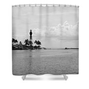 Black And White Lighthouse Shower Curtain