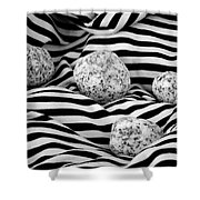 Black And White Lines And Stones  Shower Curtain