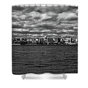 Black And White Mad Town Shower Curtain