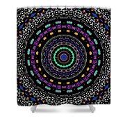 Black And White Mandala No. 4 In Color Shower Curtain