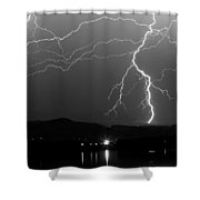 Black And White Massive Lightning Strikes Shower Curtain