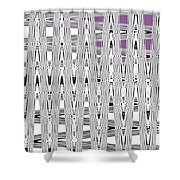 Black And White Metal Panel Abstract Shower Curtain