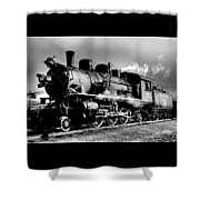 Black And White Of An Old Steam Engine  Shower Curtain