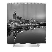Black And White Of Nashville Tennessee Skyline Sunrise  Shower Curtain