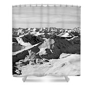 Black And White Of The Summit Of Mount Elbert Colorado In Winter Shower Curtain
