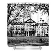 Black And White - Old Main - Widener University Shower Curtain