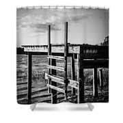 Black And White Old Time Dock Shower Curtain