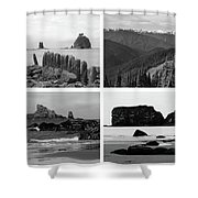 Black And White Olympic National Park Collage Shower Curtain