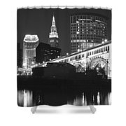 Black And White Panorama Of Cleveland Shower Curtain