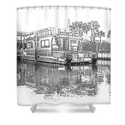Black And White Party Boat Shower Curtain
