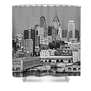 Black And White Philadelphia - Delaware River Shower Curtain