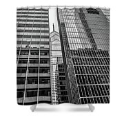 Black And White Philadelphia - Skyscraper Reflections Shower Curtain