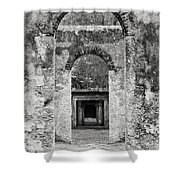 Black And White Photograph Beaufort Historic Church - Chapel Of The Ease Shower Curtain