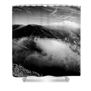 Black And White Photograph Of Fog Rising In The Marin Headlands - Sausalito Marin County California Shower Curtain