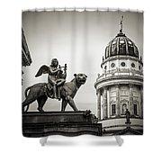 Black And White Photography - Berlin - Gendarmenmarkt Square Shower Curtain