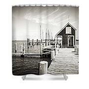 Black And White Photography - Martha's Vineyard - Black Dog Wharf Shower Curtain