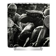 Black And White Photography - Motorcyclists Shower Curtain