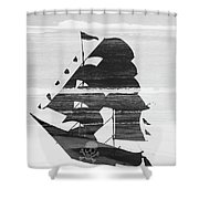 Black And White Pirate Ship Against The Sea And Crushing Waves. Double Exposure Shower Curtain