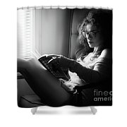 Black And White Portrait Of A Sexy Woman In Large Reading Glasse Shower Curtain