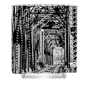 Black And White Railroad Shower Curtain