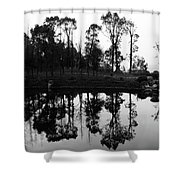 Black And White Reflected Shower Curtain