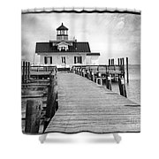 Black And White  Roanoke Lighthouse Shower Curtain