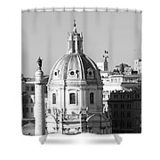 Black And White Rooftop In Rome Shower Curtain