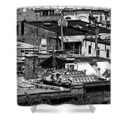 Black And White Rooftops Shower Curtain