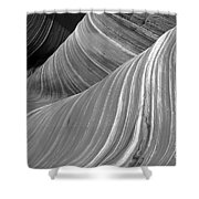 Black And White Sandstone Waves Shower Curtain