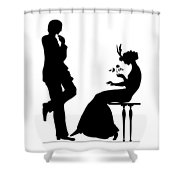 Black And White Silhouette Of A Man Giving A Woman A Flower Shower Curtain