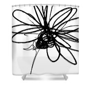 Black And White Sketch Flower 4- Art By Linda Woods Shower Curtain