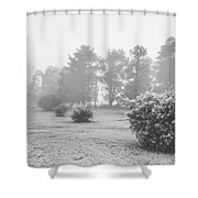 Black And White Snow Landscape Shower Curtain