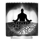Black And White Spiritual Grounding Shower Curtain