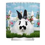 Black And White Spring Bunny Shower Curtain