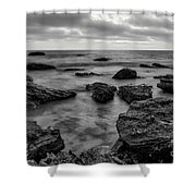 Black And White Sunset At Low Tide Shower Curtain