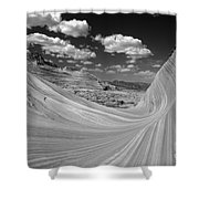 Black And White Swirling Landscape Shower Curtain