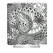Black And White Tangle Art Shower Curtain