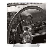 Black And White Thunderbird Steering Wheel  Shower Curtain