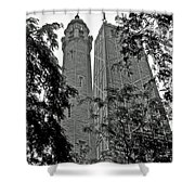 black and white Water Tower Shower Curtain