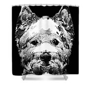 Black And White West Highland Terrier Dog Art Sharon Cummings Shower Curtain