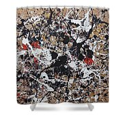 Black And White With Red And Gold Shower Curtain