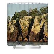 Black Beach Island Shower Curtain