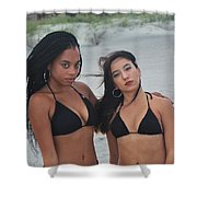 Black Bikinis 2 Shower Curtain