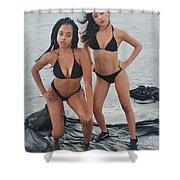 Black Bikinis 4 Shower Curtain
