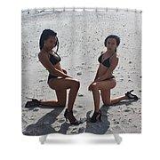 Black Bikinis 8 Shower Curtain